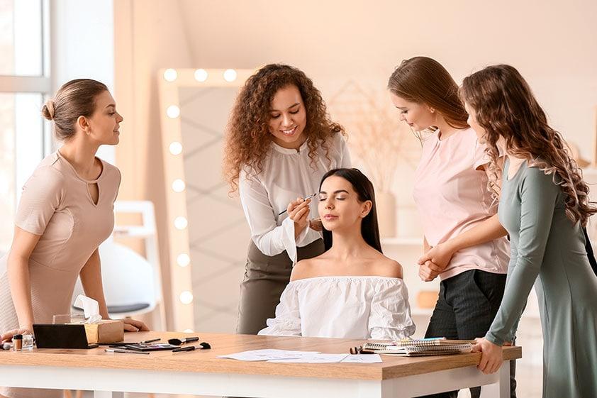Pretty women in a makeup class